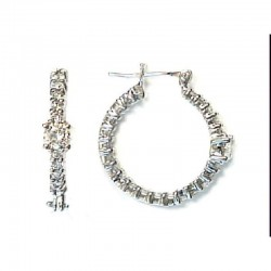 Ryan Gems 14K White Gold Diamond Hoop Earrings
