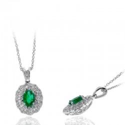 Ryan Gems 14K White Gold Diamond & Emerald Pendant