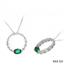 Ryan Gems 14K White Gold Circle Drop Diamond & Emerald Pendant