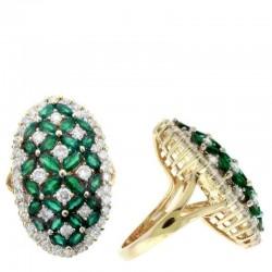 Ryan Gems 14K Yellow Gold Diamond and Emerald Ring