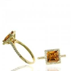 Ryan Gems 14K Yellow Gold Diamond Halo and Citrine Ring