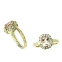 Ryan Gems 14K White Gold Vintage Diamond & Pink Sapphire Ring