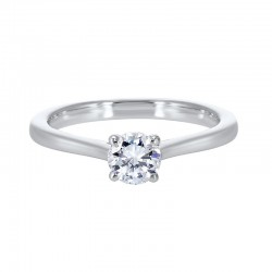 14K White Gold Diamond Solitaire Engagement Ring with one Round Diamond at .25 ct