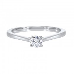 14K White Gold Diamond Solitaire Engagement Ring with one Round Diamond at .75 ct