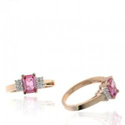 Ryan Gems 14K Rose Gold Diamond & Pink Sapphire Ring