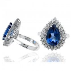 Ryan Gems 14K White Diamond & Blue Topaz Ring
