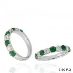 Ryan Gems 14K White Gold Diamond and Emerald Ring