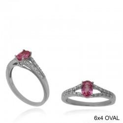 Ryan Gems 14K White Gold Diamond & Pink Sapphire Ring