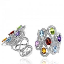 Ryan Gems 14K White Gold Diamond & Multi Color Semi-Precious Stone Ring