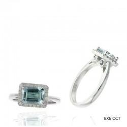 Ryan Gems 14K White Gold Diamond & Aqua Marine Halo Ring