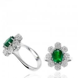 Ryan Gems 14K White Gold Diamond & Emerald Ring