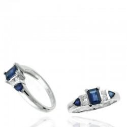 Ryan Gems 14K white Gold Diamond and Sapphire Ring