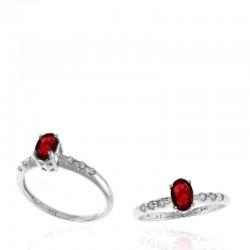 Ryan Gems 14K White Gold Diamond & Ruby Ring