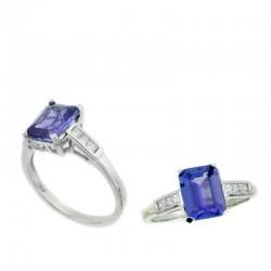 Ryan Gems 14K White Gold Diamond and Tanzanite Ring
