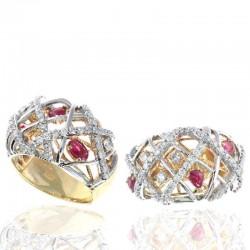 Ryan Gems 14K White & Yellow Gold Diamond & Ruby Ring