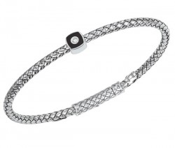 Sterling Silver Basket Weave Bracelet With Cushion Shaped Black Enamel Ornament With .035Ct Diamond
