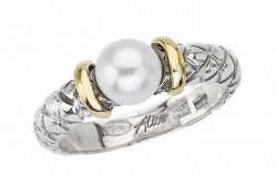18K/Sterling Silver Traversa Ring With Pearl Center And Gold Rondells