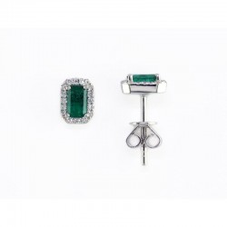 14KW Emerald and Diamond Earrings