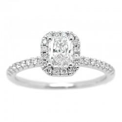 14KW Radiant Halo Diamond Engagement Ring