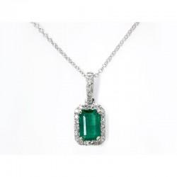 14KW Emerald and Diamond Pendant