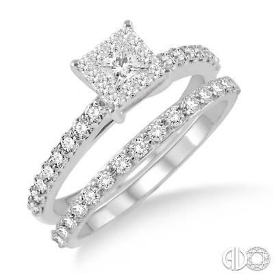 14k White Gold 2 pc lovebright bridal set
