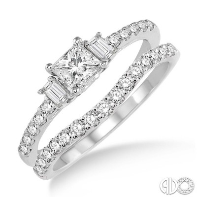 2 pc  bridal set with princess center,2 baguette , and round side stones
