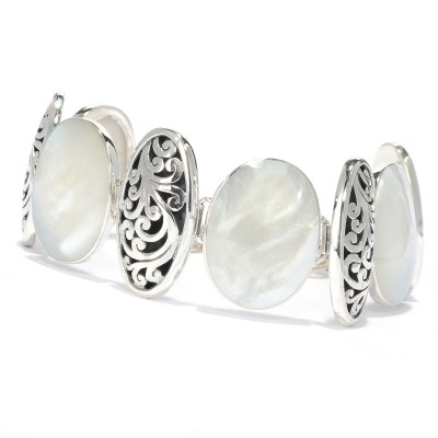 Samuel B. Sterling Silver Mother Of Pearl Oval Link Bracelet