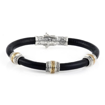 Sterling Silver and 18kt Yellow Gold BLACK LEATHER 3 STATION BRACELET