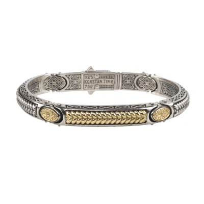 Gts Sterling Silver and 18kt Yellow Gold bracelet with gold pattern design in center