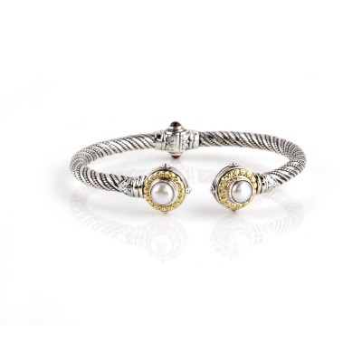 Sterling Silver and 18kt Yellow Gold PEARL HINGED bracelet