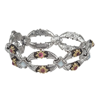 Sterling Silver and 18kt Yellow Gold Mother of Pearl and pink tourmaline bracelet