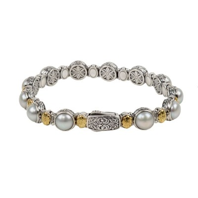 Sterling Silver and 18ky gold and pearl bracelet