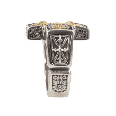 Sterling Silver and 18kt Yellow Gold gents cross top design with gold lettering