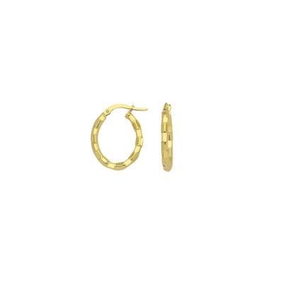 14KY Brick Design Hoop Earrings