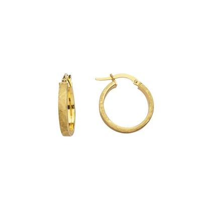 14KY Satin Euro Hoop Earrings