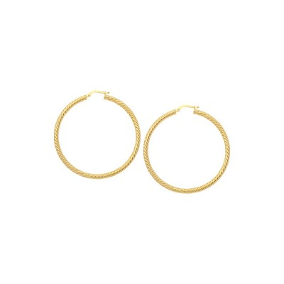 14KY Rope Twist Hoop Earrings