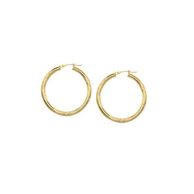 14KY Gold Florentine Round Hoop Earrings