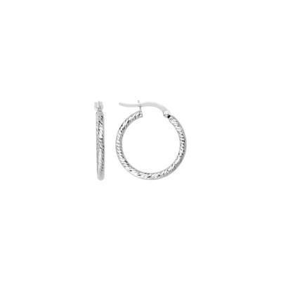 14KW Fancy Dia Cut Tube Hoop Earrings
