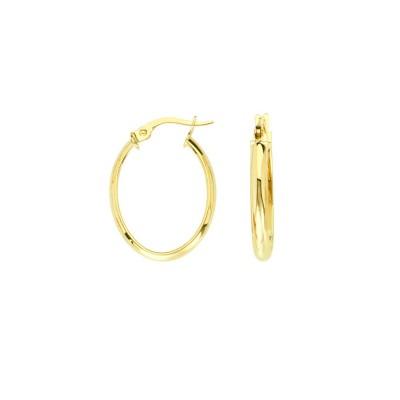 14KY Oval Hoop Earrings