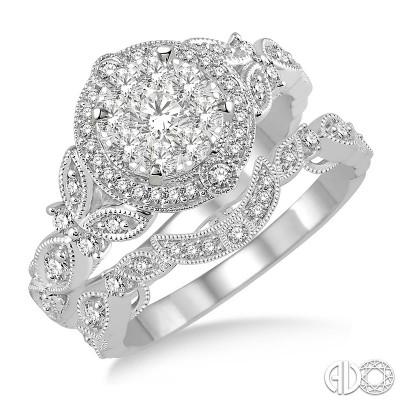 14k White Gold .60ct tw LoveBright Diamond Wedding Set