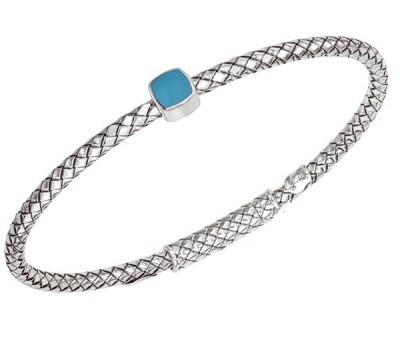 Sterling Silver Basket Weave Bracelet With Cushion Shaped Turquoise Enamel Ornament