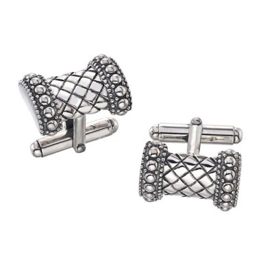 Sterling Silver Rectangular Basketweave Cufflinks