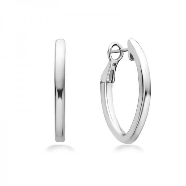 Sterling Silver & 14K White Gold   27Mm Smooth V Hoop Earring