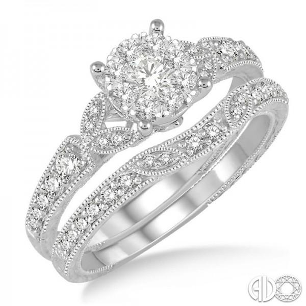 14KW LoveBright 2 Ring Wedding Set .65ct tw