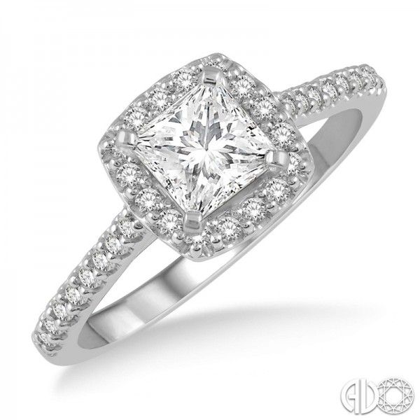 14k White Gold .50ct Princess .25ct tw Round Diamond Ring