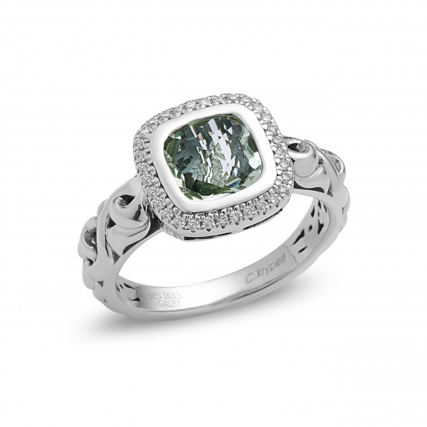 Ellah Collection Sterling Silver Mint Green Quartz Ring