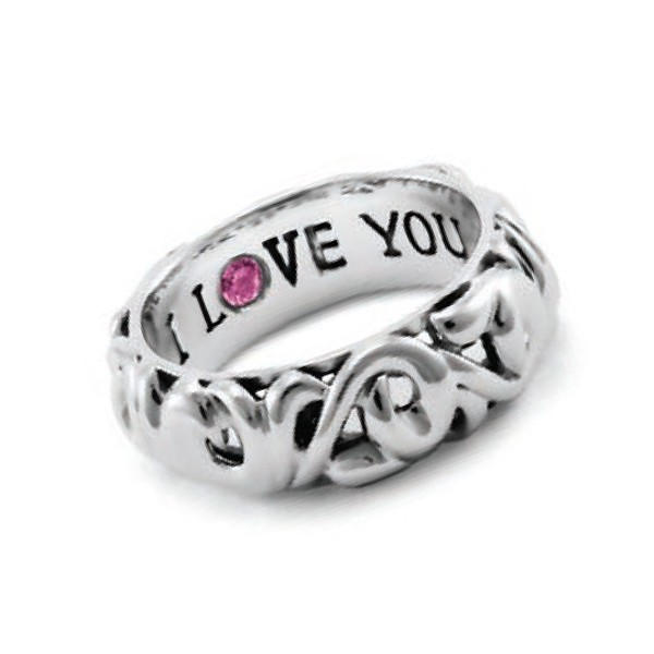 Sterling Silver Ring. 1 Pk Saph .11Ct Engraved
