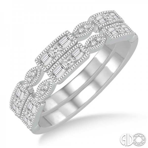 14k White Gold .45ct tw Diamond Stack Band