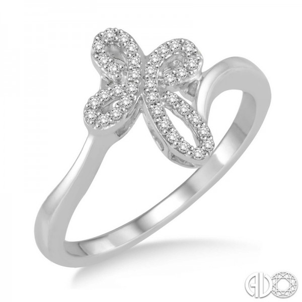 14k White Gold .15ct tw Diamond Cross Ring