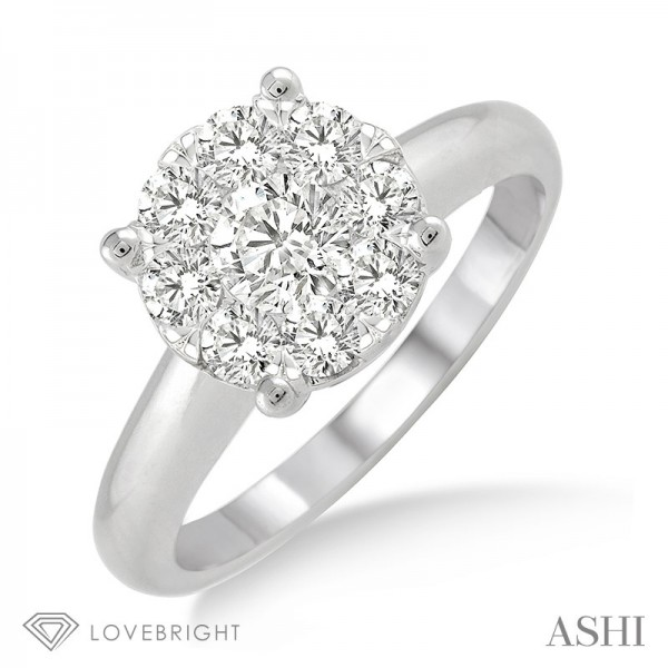 14KW Cluster Top Ring Wedding Set with 9=1.00 ctw Round H/I SI2-I1 Diamonds
